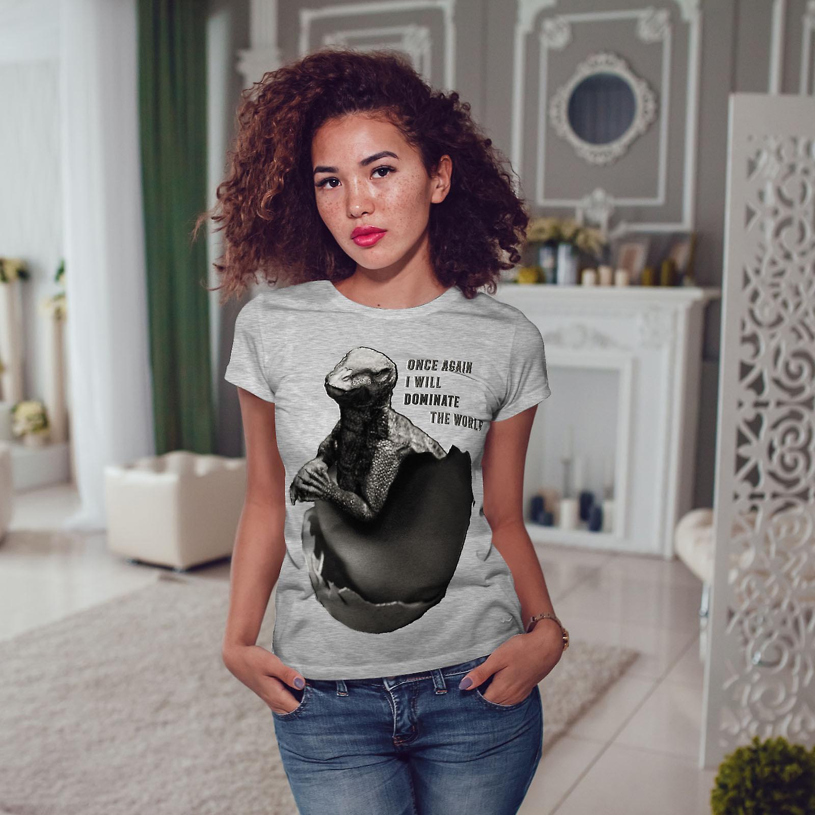 Dominer la monde drôle femmes GreyT-chemise | Wellcoda