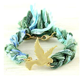 Ettika - Yellow Gold Dove Bracelet and Cotton Green Braided Ribbons 2370
