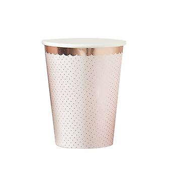 Paper Party Cups Ditsy Floral Rose Gold Edge Pack of 8 Wedding Tea Party