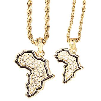 Iced out bling mini chain pendant set - 2 x Africa gold
