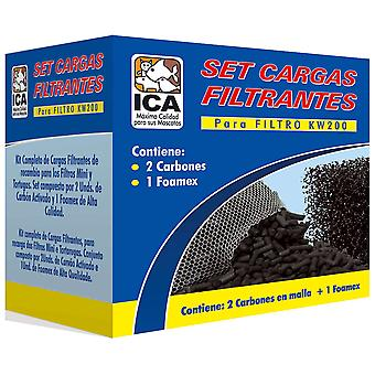 Ica Set 2 Coal and A Foamex for Kw200 (Fish , Filters & Water Pumps , Filter Sponge/Foam)