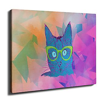 Glasses Animal Loyal Wall Art Canvas 40cm x 30cm | Wellcoda