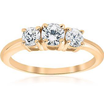 1ct drei Stein Diamant-Verlobungsring Jubiläum 14K Gelbgold