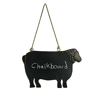 Rustic Brown Metal Sheep Shaped Hanging Chalkboard