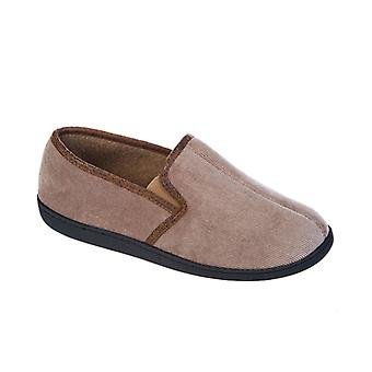 Mens Coolers Brand Corded Microsuede & Polar Fleece Slipper