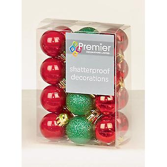 Premier Decorations 24pc 30mm Xmas Christmas Tree Decoration Mini Baubles Red & Green