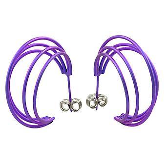 Ti2 Titanium Large Wire Hoop Earrings - Imperial Purple