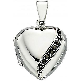 Beginnings Marcasite Heart Locket Pendant - Silver