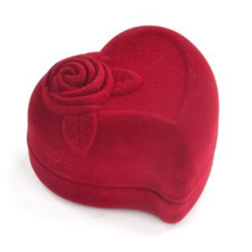 TRIXES Luxury Red Love Heart Flocked Ring Box Engagement Wedding Proposal