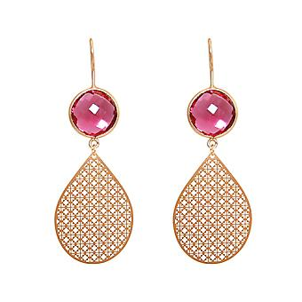 GEMSHINE women's earrings mandalas red silver, gold plated or rose gold plated