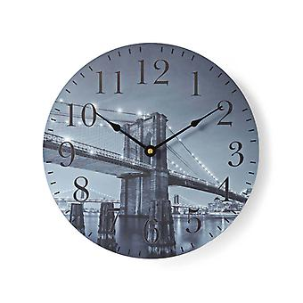 Nedis CLWA007WD30BB Ronde Wandklok Diameter 30 Cm Brooklyn Bridge-afbeelding