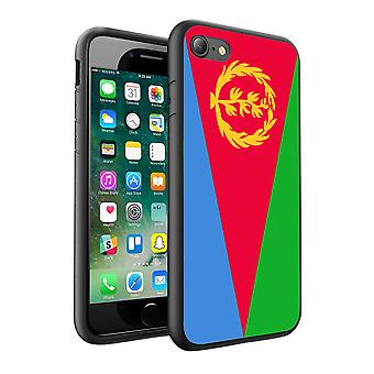 For Apple iPhone 7 - Eritrea Flag Design Printed Black Case Skin Cover - 0055 by i-Tronixs