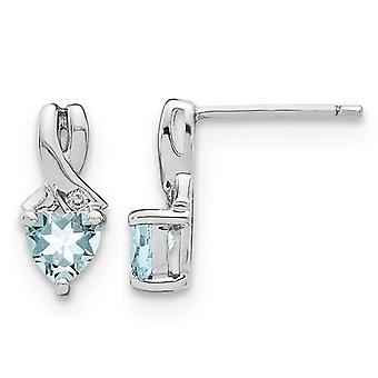 9/10 Carat (ctw) Natural Aquamarine Heart Earrings in Sterling Silver