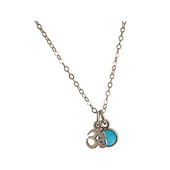 Gemshine YOGA Méditation Ohm Necklace 925 Argent avec 1.3cm Blue Green Turquoise