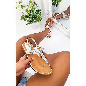 IKRUSH Womens Asher Diamante Embellished T-Bar Sandals
