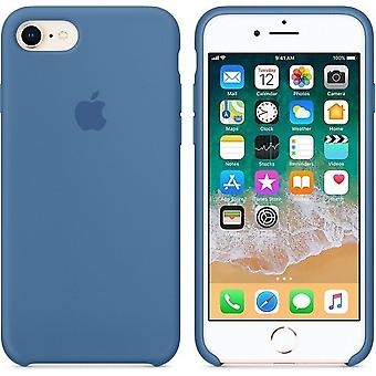 Originalverpackt MRFR2ZM/A Apple Silikon Mikrofaser Cover Hülle für iPhone 8 / 7 / SE 2020 - Denim Blau