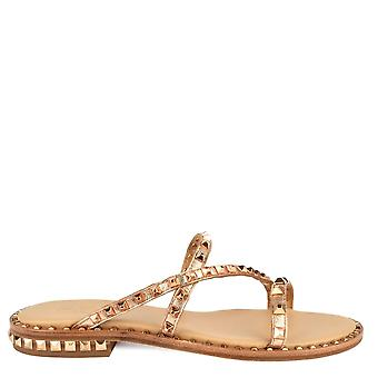 Ash PEACE BIS Sandals Rose Gold Leather & Studs