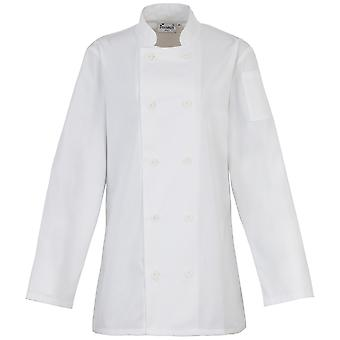 Premier Womens/Ladies Long Sleeve Chefs Jacket / Chefswear (Pack of 2)