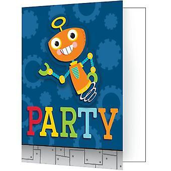 Robô convites 8 peça crianças aniversário tema festa festa aniversário