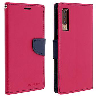 Case for Galaxy A7 2018 Folio Case Cards-Holder Support Function Mercury - Pink
