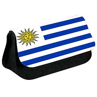 Uruguay Flag Printed Design Pencil Case for Stationary/Cosmetic - 0189 (Black) by i-Tronixs