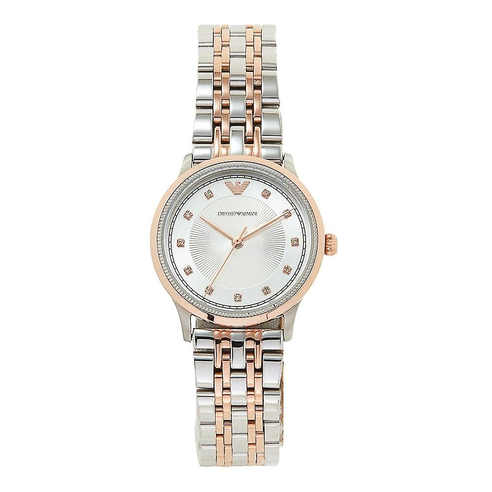Armani Watches Ar1962 Rose Gold & Silver Stainless Steel Ladies Watch