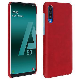 Samsung Galaxy A50 beskyttelse sag, Resistan, imiteret læder, vintage, rød