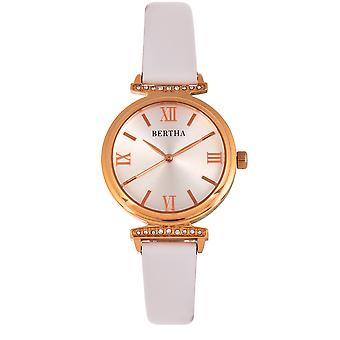 Bertha Jasmine Leather-Band Watch - Blanc