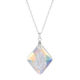 Wieczna kolekcja Supernova Aurora Borealis Austriacki Kryształ Sterling Srebrny Wisiorek