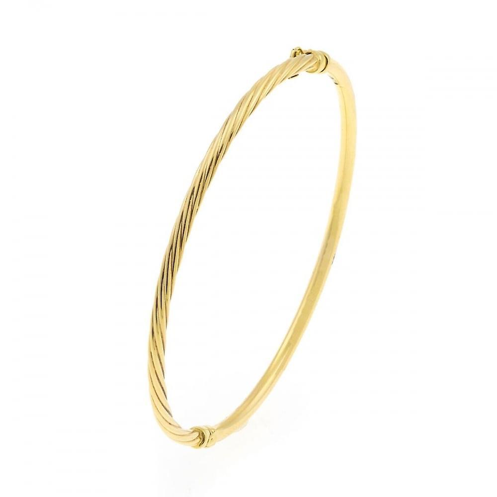 Eternity 9ct Gold Oval 1/2 Polished 1/2 Twisted Bangle