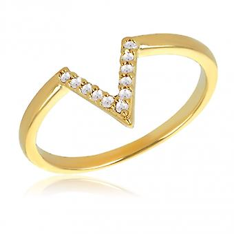 Gold Plated Triangle Ring With Cubic Zirconia