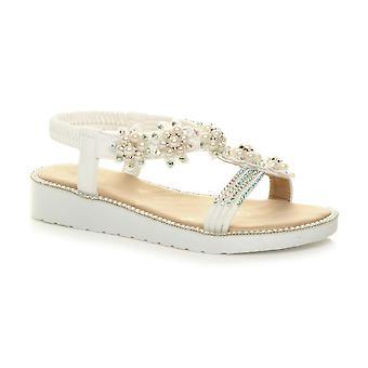 Ajvani kvinner lav kile hæl flatform Diamante perle t-bar slingback sandaler