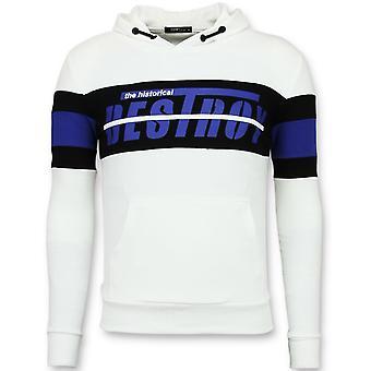 Suéter Encapuzado - Capuz Listrado - Branco