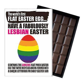 Funny flat påske egg Chocolate Bar gratulasjonskort gave LHBT lesbisk homofil queer UK EIYF124