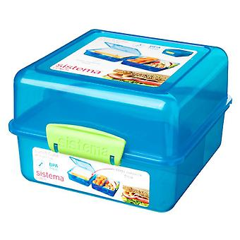 Sistema 3 Compartment 1.4L Lunch Cube Box, Bleu