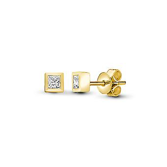 Jewelco London Ladies Solid 18ct Yellow Gold Rub Over Set Princess G VS 0.1ct Diamond Solitaire Stud Earrings
