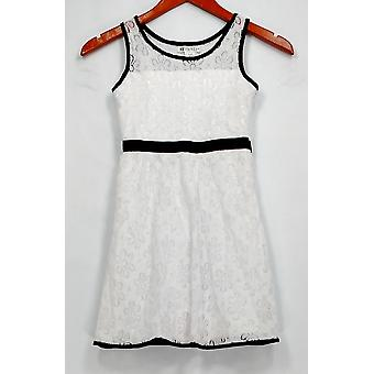 33 Lights Dress Little Girl's Lace Sleeveless w/ Contrast Trim White