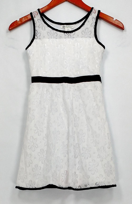 33 Lights Dress Little Girl's Lace Sleeveless w/ Contrast Trim White