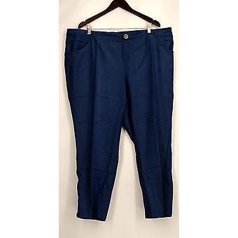 IMAN Petite Pants Button Closure Faux Fly Denim Look Blue Womens