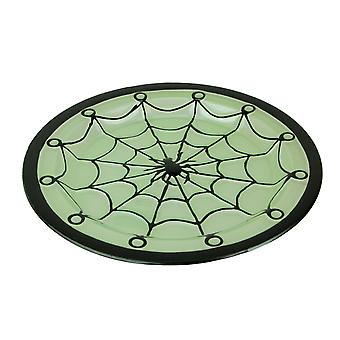 Black and Green Glass Spider Web Decorative Serving Platter