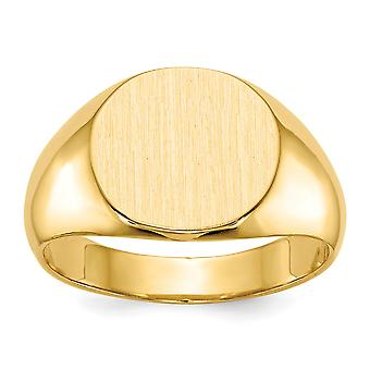 14k Yellow Gold Solid Back Engravable Mens Signet Ring Size 10 Jewelry Gifts for Men - 8.4 Grams