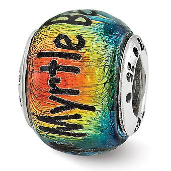 925 Sterling Silver Reflections Myrtle Beach Orange Dichroic Glass Bead Charm Pendant Necklace Jewelry Gifts for Women