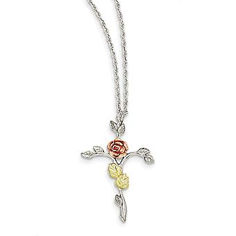 925 Sterling Silver Gift Boxed Spring Ring Polished and satin and 12k Rose Religious Faith Cross Necklace 18 Inch Jewelr