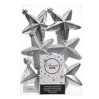 6cm Silver Matt, Foil & Glitter Christmas Star Tree Baubles - 6 Pack