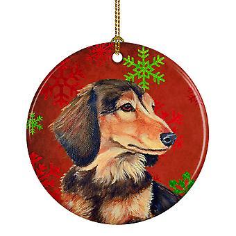 Dackel rot und grün Schneeflocken Urlaub Weihnachten Keramik Ornament
