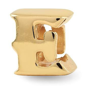 925 Sterling Silver polerad 14k Guldpläterade reflektioner Brevnamn Personlig Monogram Initial E Bead Charm Hänge