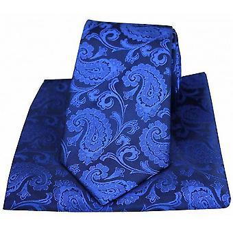 David Van Hagen Paisley gewebt Seide Krawatte und Tasche Platz Set - Royal Blue