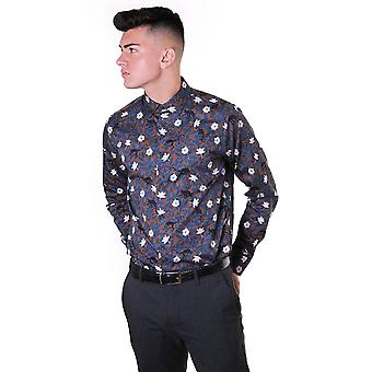 Ted Baker Mens Yeux Ls Monkey And Leaf Print Shirt
