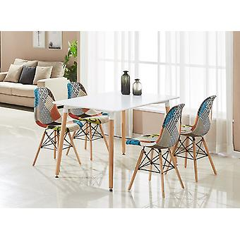 Patchwork Eiffel Halo Dining Table Set With 4 Chairs