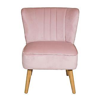 Charles Bentley Velvet polstret Plisseret Retro Wingback Lejlighed / Lounge / Hallway / Soveværelse stol Dusky Pink